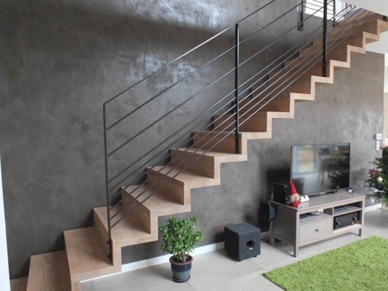 Escalier autoportrait réalisé en Alsace