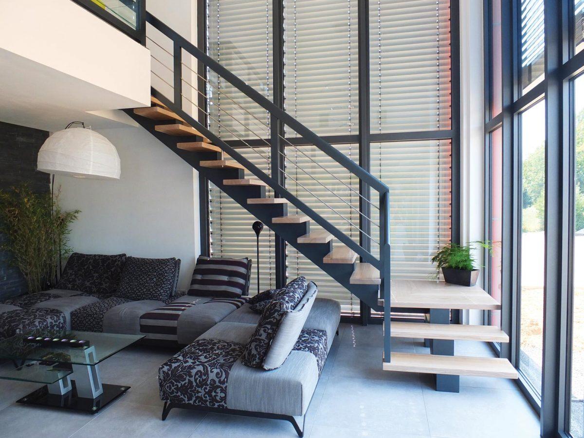 escalier limon central 1 ambiance escalier. Black Bedroom Furniture Sets. Home Design Ideas