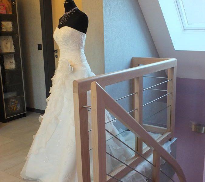 Garde corps et robe de mariée