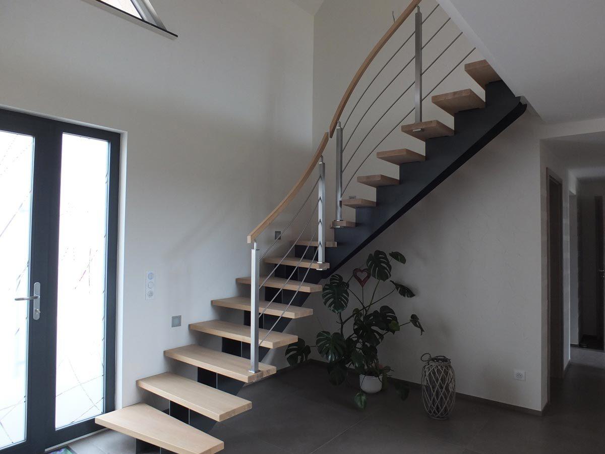 Escalier limon central contemporain