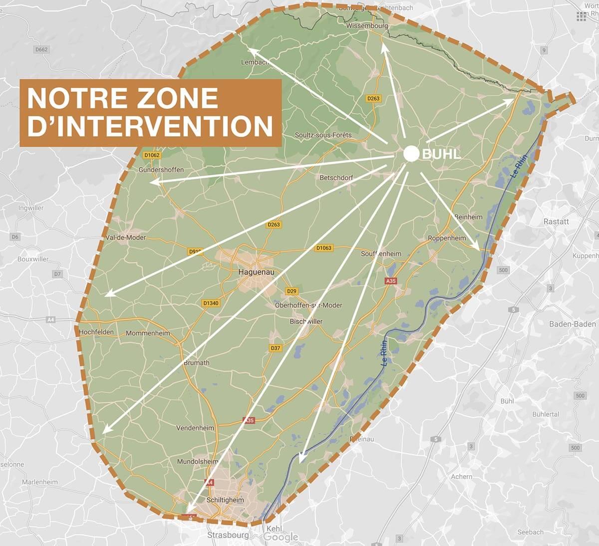 Zone d'intervention de la société Ambiance Escalier en Alsace